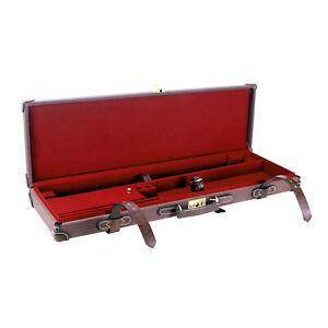 Tourbon Vintage Shotgun Case Gun Hard Box Safety Canvas Leather O/U Case Storage