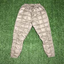 Vintage Eddie Bauer Down Pants Quilted Puffer Large 60s / 70s Zipper Snow Beige