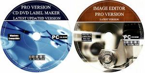 CD DVD Label Maker Pro Creator Design Customise + Image Editor Painter PC 2021