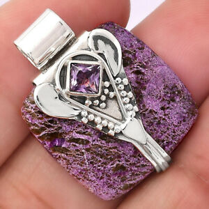 Lord Ganesha - Purpurite and Amethyst 925 Sterling Silver Pendant Jewelry 4457