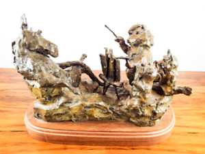 "Vintage Patinated Bronze Art Animal Sculpture Joffa Kerr ""Wild About Art"" 6/35"
