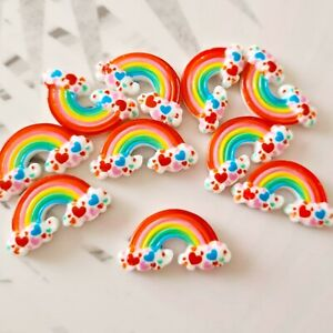 Pack of 10 Rainbow and Hearts Flatbacks, Resins for Bow Making, Embellishments