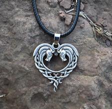 Celtic Horse Heart Shaped Pendant Necklace