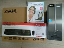 KIT SMART WORK  PC ACER MONITOR ASUS VK228 CON WEBCAM CUFFIE TASTIERA MOUSE