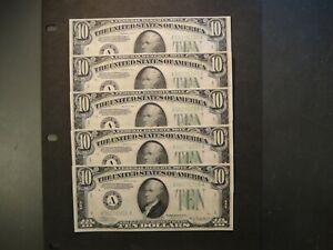 Five (5) 1934-A US $10 Federal Reserve Notes. Consecutive Serial Nos. UNC.