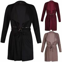 Womens Plus Size Long Sleeve Ladies Collar Belted Zip Plain Jacket Coat Long Top