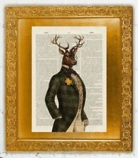 Old Antique Book page Art Print - Dandy Stag Vintage Dictioary Page Print