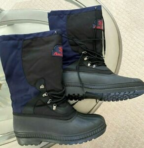 Vintage Arctic Cat Snowmobile Mens Boots Size 11 Blue Black Made Canada
