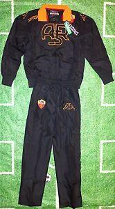 Original AS Rom Trainingsanzug schwarz KAPPA Erwachsene +NEUWARE+ Presuit Roma +