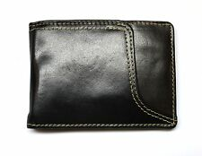 Slim Front Pocket Wallet with Money Clip -Black & Brown Leather