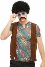 Perruque Hippie Boite Vapeur Moustache & Collier Adultes Déguisement Kit Costume
