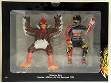 VALENTINO ROSSI FIGURINE + CHICKEN GP 250 BARCELONA 1998 MINICHAMPS MODEL 1/12