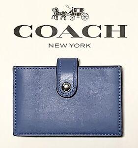 NWT Coach Leather Small Accordion Colorblock Card Case Azure 68393e