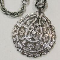 Vintage CROWN TRIFARI Necklace Designer Signed Filigree Estate Jewelry Silver
