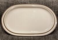 "Vintage Noritake Japan Primastone Tundra 14"" Oval Serving Platter Brown Taupe"