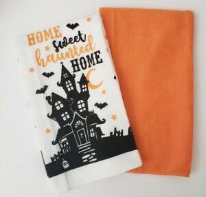 "Haunted House Halloween Tea Towels ""Home Sweet Haunted Home"" Dish Towel Set"