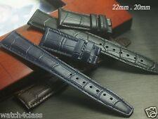 Genuine Leather Band Strap bracelet (fits) IWC 22mm or 20mm BLUE BLACK BROWN