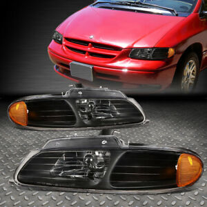 FOR 96-00 GRAND CARAVAN TOWN&COUNTRY BLACK HOUSING AMBER CORNER HEADLIGHT LAMPS