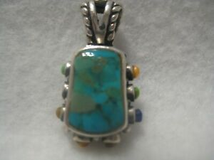 Sterling Silver Turquoise Pendant Barse HT117