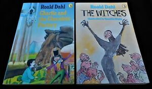 2 x Roald Dahl P/B Books: Charlie & The Chocolate Factory + Witches Puffin 1985