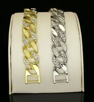 Mens Bracelet Miami Cuban Link 14k Gold Silver Plated Hip Hop Fashion 7-10 inch