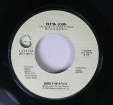 Pop 45 Elton John - Kiss The Bride / Choc Ice Goes Mental On Geffen Records