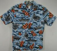 Kalaheo Mens S Hawaiian Aloha Shirt Blue Floral Short Sleeve Cotton Blend EUC