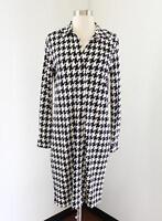 Anne Klein Black White Houndstooth Long Sleeve Shirt Dress Size S Office Career