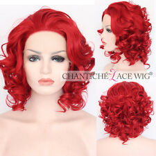 Cosplay Red Lace Front Wigs Short Wavy Synthetic Wig for White Women Heat Good