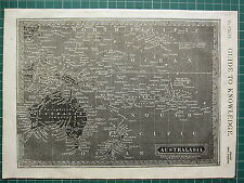 1834 MAP REVERSED WOODBLOCK PRINT ~ AUSTALASIA PAPUA NEW ZEALAND EAST INDIES