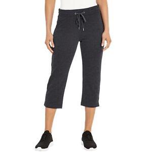 NWT Womens EDDIE BAUER French Terry Capri Pants Charcoal Heather XL