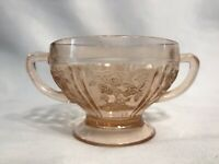 Vintage Pink Depression Pressed Floral Pattern Glass Candy Dish with Handles