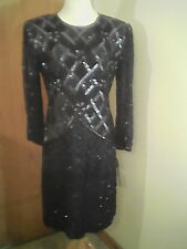 Silky Nites by Cherish women's navy blue sequin/beaded formal dress, 12/14, silk
