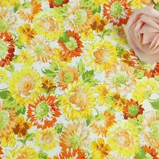 150cm Wide Yellow Orange Chrysanthemum Daisy Floral Print Cotton Poplin Fabric