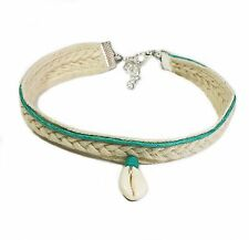 Anklet Cowrie Shell Turquoise Bead Soft Plaited Braid  Gypsy M Australia Made