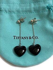 Tiffany & Co Signed Sterling 925 Onyx Heart Dangle Post Earrings w/ Pouch & Bag