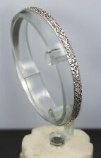 """Sterling Silver Reeded Filigree Design Bangle Bracelet 8"""""""