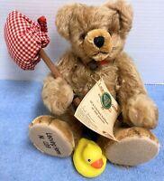 "Hermann Leaving Home 11"" Mohair Teddy Bear Ltd. Ed. 89/500 All IDs w Rubber Duck"