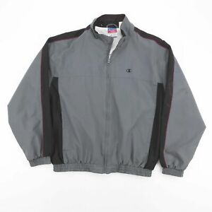 Vintage CHAMPION Grey Embroidered Logo Sports Jacket Men's Size Medium