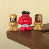 3Pcs rare Ooshies Marvel DC RED HULK GOLDREN SPIDER-MAN Cyborg collection toy