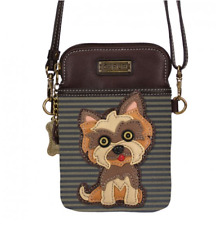 NEW CHALA YORKIE TERRIER DOG BROWN BLACK STRIPE CELL PHONE CROSSBODY PURSE BAG