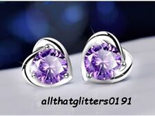 Silver Plated 4mm Purple Zircon Earrings Boxed Ideal For A Gift, Mother,Wife