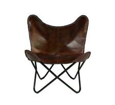 Handmade Leather Butterfly Chair Genuine Dark Leather- Leather butterfly Chair b