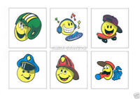 12 Smile Faces Temporary Tattoos Kid Party Goody Loot Bag Filler Favor Supply