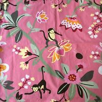 Pottery Barn Emmy Pink Monkey Curtain Panel Jungle Floral 50 X 84 Lined