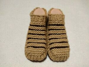 Hand Knitted Womens Slippers Socks Chocolate Brown and Beige Color US size 8