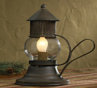 "Primitive ONION LANTERN Lamp Brown/Black Rustic Light ELECTRIC 7"" x 7"" Farmhouse"