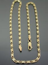 VINTAGE 9ct ROSE & YELLOW GOLD FANCY FLAT LINK NECKLACE CHAIN 17 inch 1987