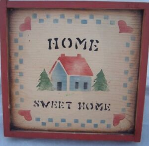 Home Sweet Home Vintage Hand Crafted Primitive House wood frame hearts Americana