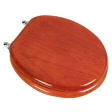 Designer Solid Round Oak Wood Toilet Seat with Chrome Hinges, American Cherry